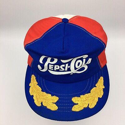 Vintage Pepsi-Cola Pinwheel Red White Blue Snapback Hat Cap Gold Leaves USA Made