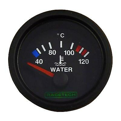 Racetech Water Temperature Gauge 52mm Electrical Black Dial Face