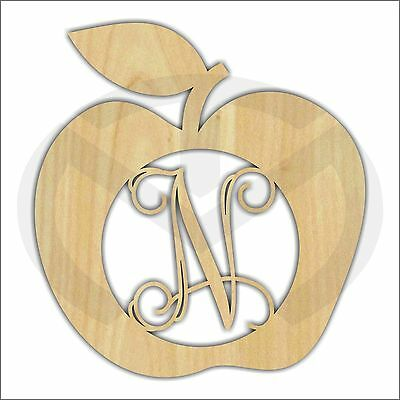 Apple Unfinished Wood Laser Cut-Out, Door or Wall Decor, Various Sizes