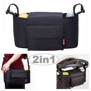 2in1 Baby Changing Bag Pram Storage Buggy Organiser - Black