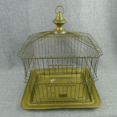 Hendryx Antique Brass Bird Cage Small Victorian Rectangular No Accessories