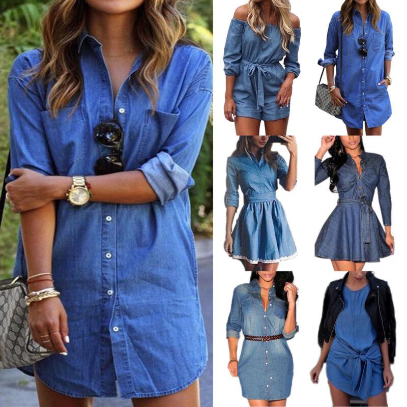 Damenmode Denim Jeanskleid Minikleid Overall Hemdkleid Tunika Sommer Longshirt