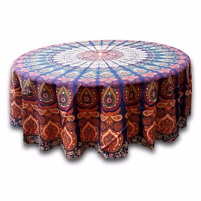 Peacock Tablecloth (Cotton Sanganer Peacock Mandala Round Tablecloth 72 inches Blue Green Red)