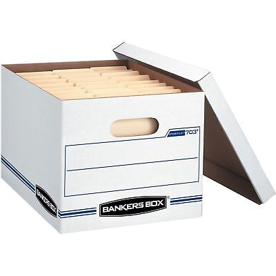 Bankers Box 703 Storfile - Letterlegal Lift-off Lid White Blue 12 Carton