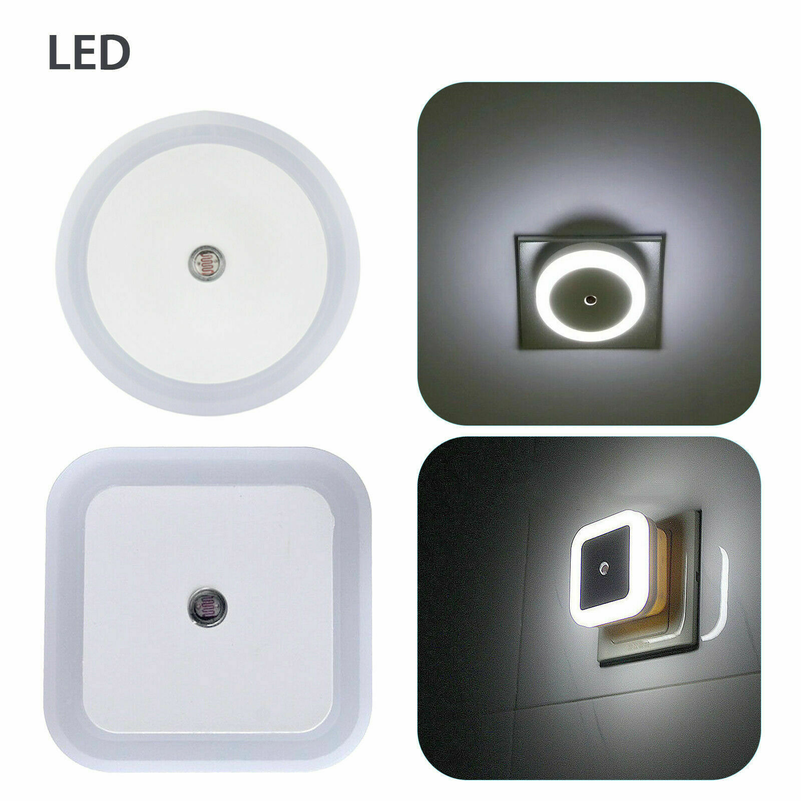 2/4/6/8 Pack Plug in LED Night Light Wall Lamp Dusk to Dawn Sensor White 0.5w Home & Garden