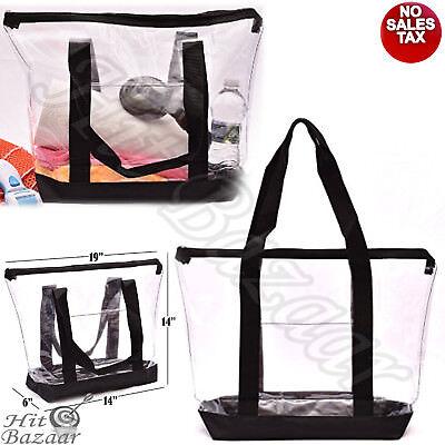 CLEAR TOTE BAG Large Transparent Purse Strong Zippered Closure Shoulder Straps
