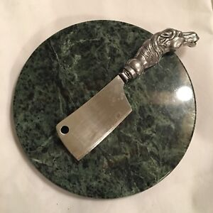 Green marble cheese board with horse head cheese cleaver knife