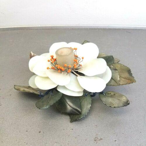 Vintage Carved Jade Coral Lotus Flower Peony & Leaves Candlestick Taper Holder *