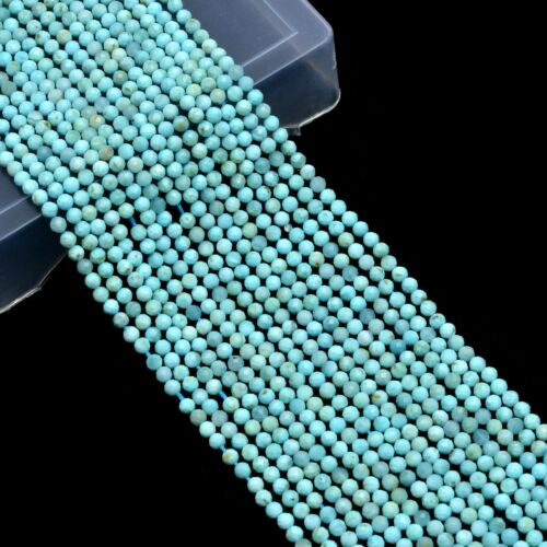 Natural AAA+ Dominican Larimar 3mm-4mm Micro Faceted Round Beads  13inch Strand