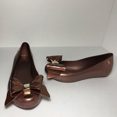 Melissa Womens Ultragirl Twin Bow Ballet Flat Bronze Shoes Size 7 Us 38 Eu