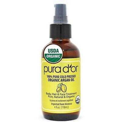 PURA D'OR Dor Moroccan Argan Oil 100% Pure Organic 4 fl oz,