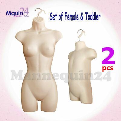 Flesh Female Toddler Torso Mannequin Set - Women Kids Dress Forms