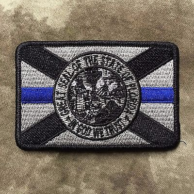 Subdued Thin Blue Line Florida State Flag Patch  Law Enforcement