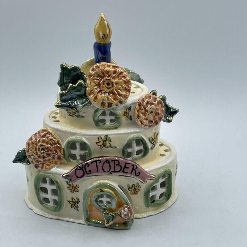 Blue Sky October Birthday Cake Candle Tea Light 2002 Ceramic Heather Goldmine