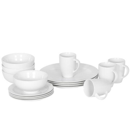16-Piece Kitchen Dinnerware Set Plates, Bowls Mugs Service for 4 White Dinner Service Sets
