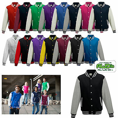 Just Hoods Varsity Jacket College Baseball Sweatjacke Damen und Herren JH043