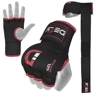- Gel Padded Inner Gloves with Hand Wraps MMA Muay Thai Boxing Bandage Fight Black