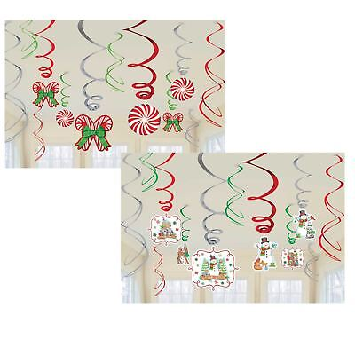 Celing Decorations (12 Christmas Winter Wonderland Hanging Metallic Swirls Celing Party)