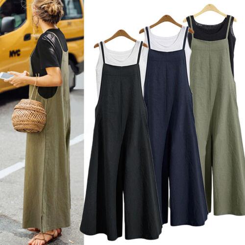 Womens Cotton Linen Wide Leg Loose Jumpsuit Romper Overalls