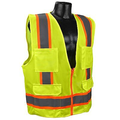 Full Source Class 2 Reflective Surveyor Safety Vest With Pockets Yellowlime