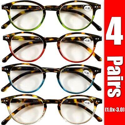 4 Pairs Mens Women Spring Hinge Round Horn Power Oval Reading Reader Glasses 1-3 Oval Womens Light