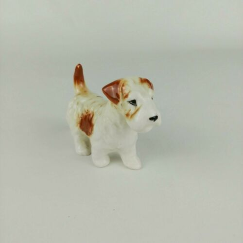 Vintage Pottery Fox Terrier Figurine Dog Crazing