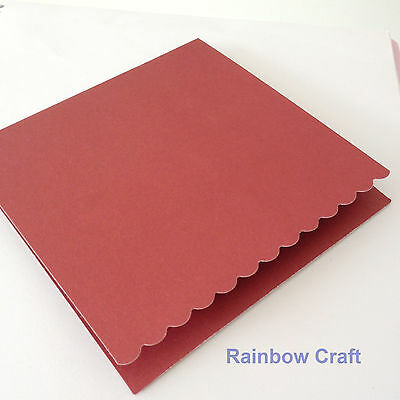 10 blank Cards & Envelopes SQUARE or C6 (9 Colors) - Scallop Wedding Invitation - Sq Red