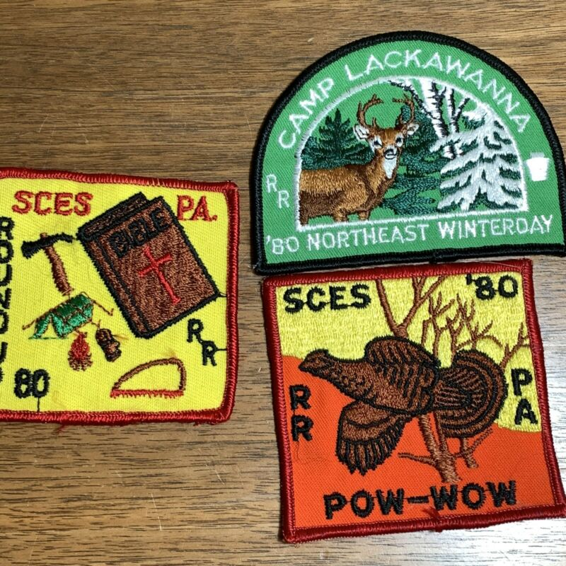 Vintage Royal Rangers Patch Badge Lot of 3 1980 SCES PA Round Up Pow Wow