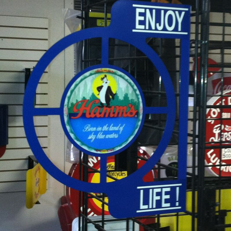 HAMMS BEER NOSTALGIC  50S WALL FLANGE ADVERTISING SIGN  2 SIDED