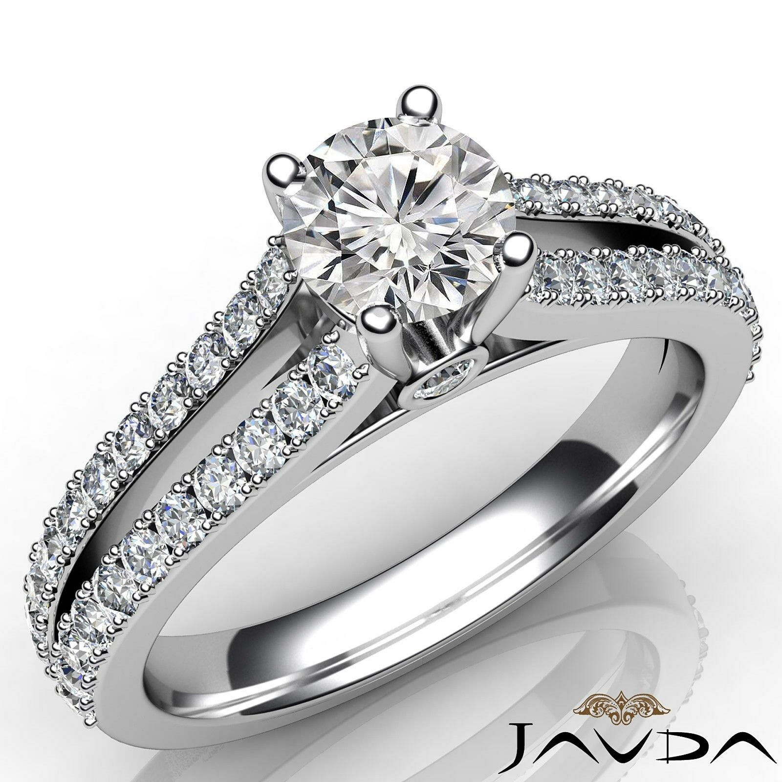 Split Shank Round Diamond Engagement Double Prong Bezel Ring GIA F VVS1 1.15 Ct