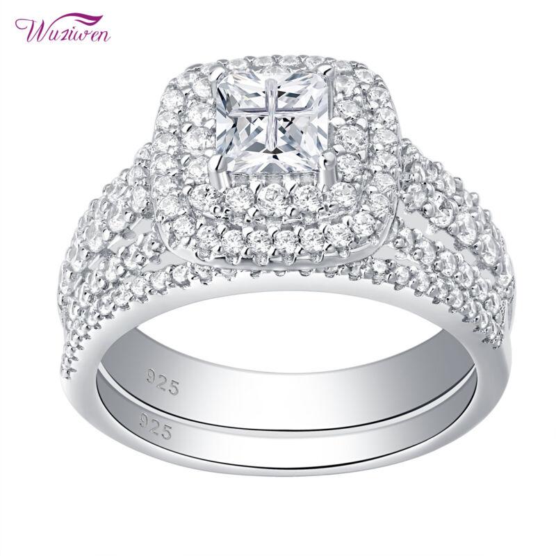 Wuziwen Wedding Engagement Ring Set Women 1.7ct Princess Aaaa Cz Sterling Silver