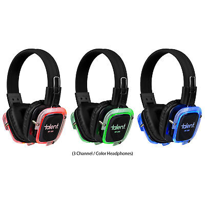 Talent RF-309 Silent Disco 3-Channel Headphones with 3 Color LED