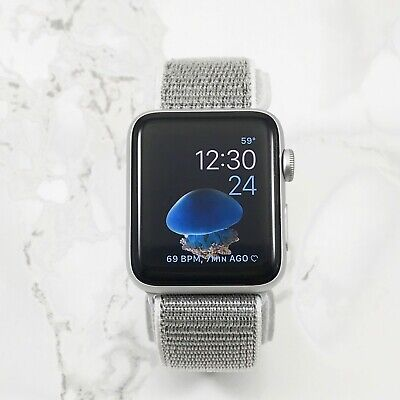 Apple Watch Series 1 42mm Silver Aluminum Case Silver Nylon Loop