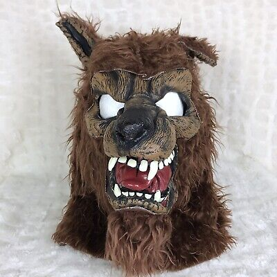 Brown Wolf Mask (Adult Halloween Dress Up Costume Mask Brown Wolf Open Mouth)