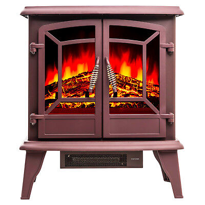 "20"" Adjustable Freestanding Portable Electric Fireplace Heater Stove Brown Color"
