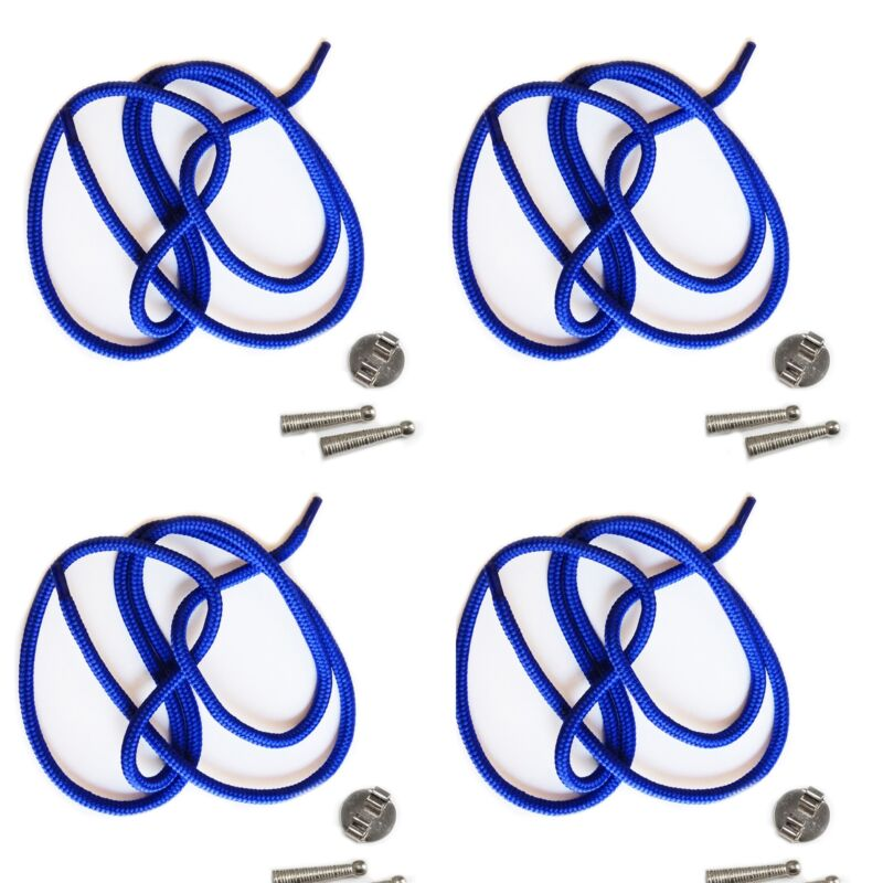 Blank Bolo Tie Parts Kit Round Slide Textured Tips Blue Cord Silvertone Pk/4