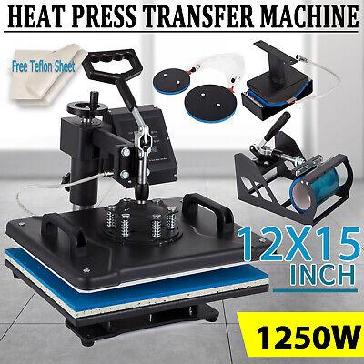 5 In 1 Heat Press Machine 12x15 Swing Away Transfer Sublimation T-shirt Mug Hat