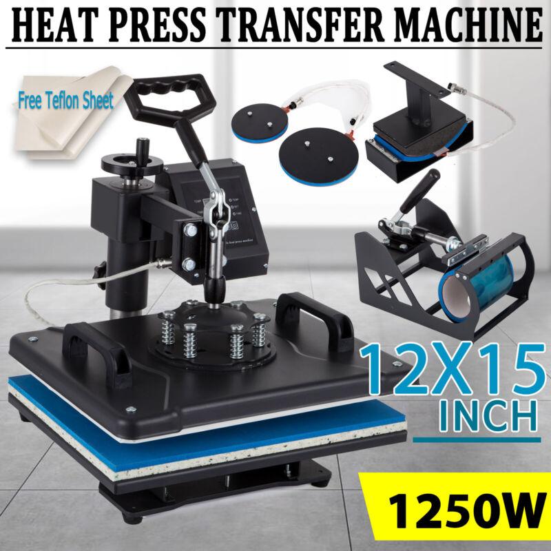 "5 in 1 Heat Press Machine 12X15"" Swing Away Transfer Sublimation T-Shirt Mug Hat"