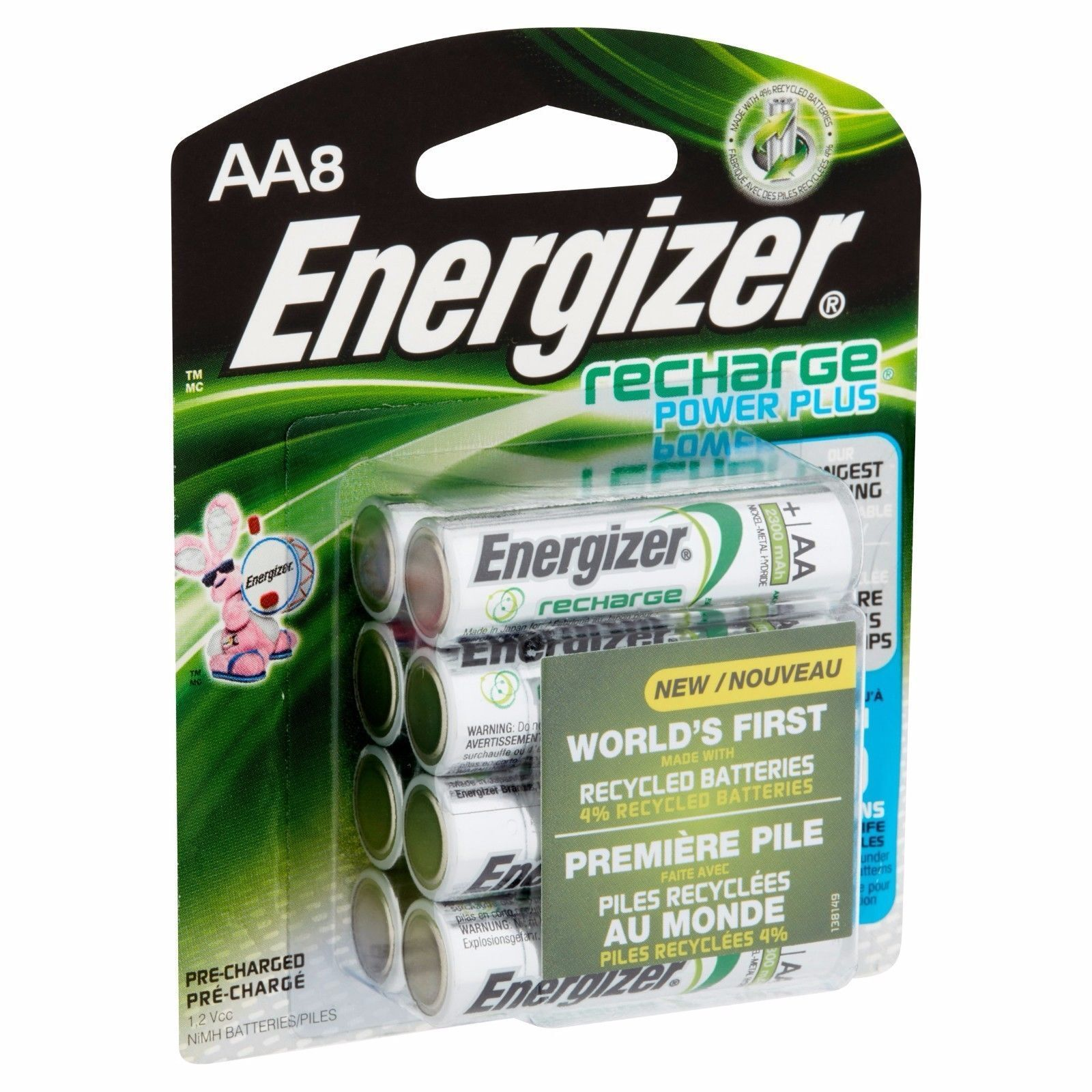 AA8 AA Energizer Rechargeable NiMH Batteries EXP 2021