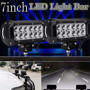 PAIR of 36W Rectangle LED Work Lights Flood Beam For Digger Tractor Jeep Offroad