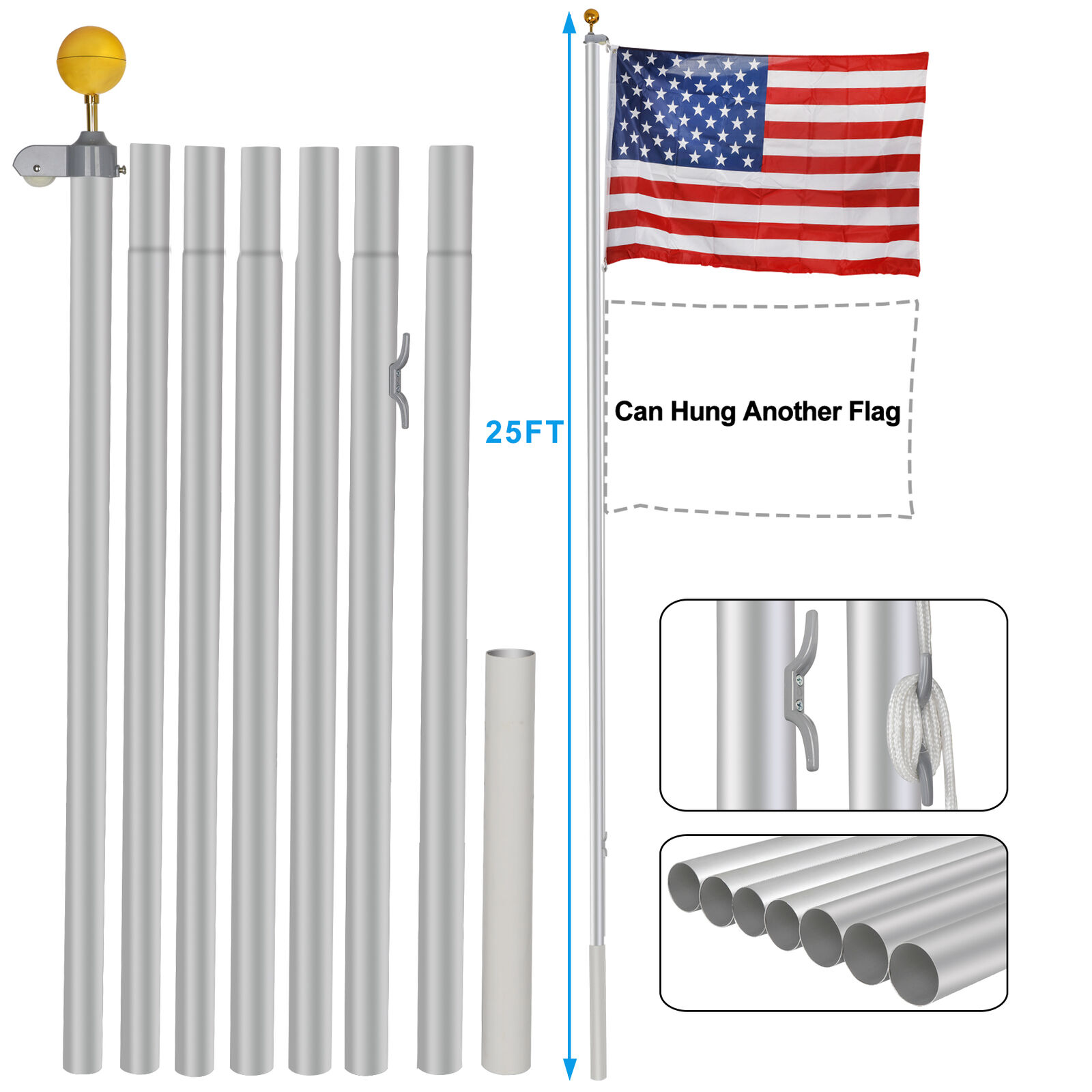 Aluminum 25Ft Sectional Flagpole Kit Outdoor Gold Ball Free US America Flag Décor