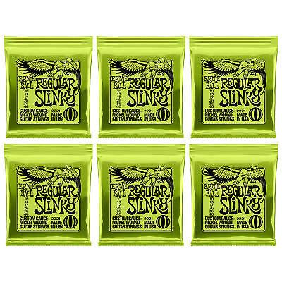 Ernie Ball Regular Slinky 2221 10-46 Nickel Wound Guitar Strings 6 Sets Packs