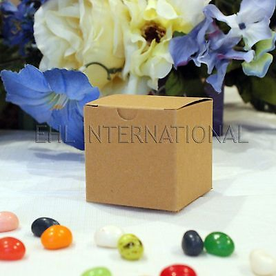 50pc Kraft Paper Wedding Party Favor Box Baby Shower Baptism Brown Container 2