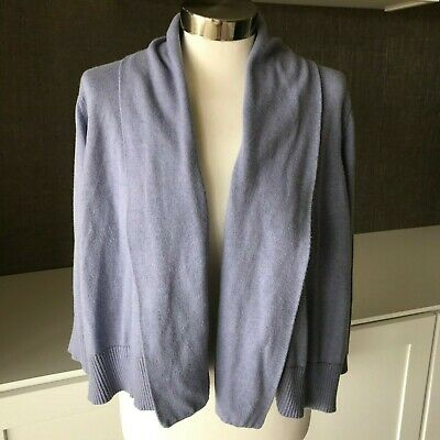 Eileen Fisher Lavender Organic Cotton Open Front Cropped Sweater Cardigan Sz Med