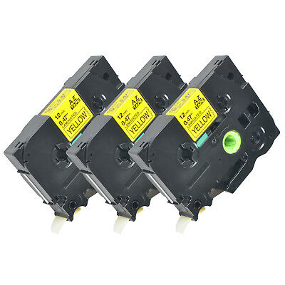 3pk Tz-631 Label Tape Black Yellow Tze-631 For Brother P-touch Pt-d450 12mm8m