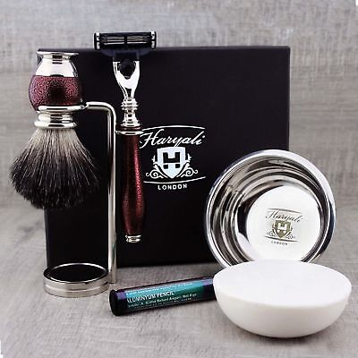 5 PIECES SHAVING SET Black Hair Brush 3 Edge Razor Stand & Soap GIFT MEN for sale  Shipping to India