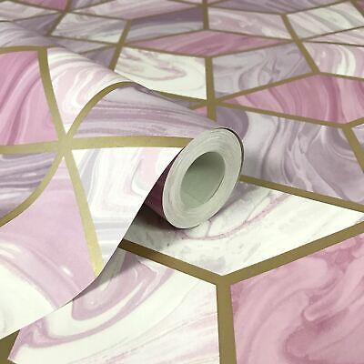 Mármol Geométrico Papel Rosa 248968 Por Rasch - Metálico 3D Cubos Diamantes