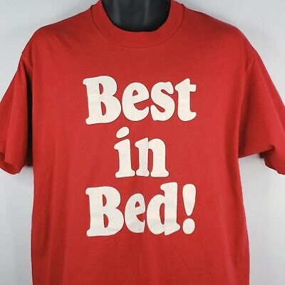 Vintage 80s Screen Stars Best In Bed Red Tshirt XL Kargo King Single