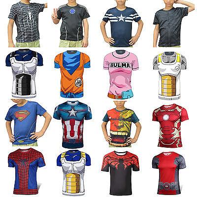 Kids Superheros Boy Girl Short Sleeve T-Shirts  Batman Spiderman Hulk Long Short (Superheros Kids)