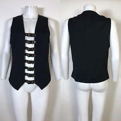 Rare Vtg Gianni Versace Black Belted Bondage Collection Vest 48 M